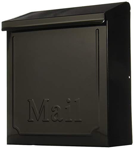 Solar THVKB0001 THVKB001 Black Townhouse Wall Mount Mailbox, 10.75