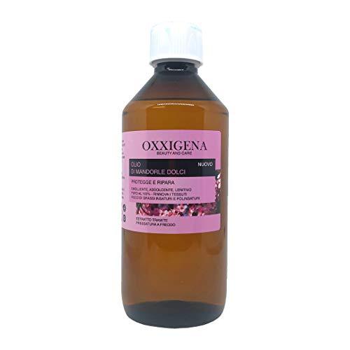 Oxxigena - Olio di Mandorle Dolci Naturale e Puro al 100%, Confezione da 500 ml, Estratto a Freddo, Ideale per Massaggi Corpo, come Idratante e Struccante per la Pelle Secca e per i Capelli Crespi