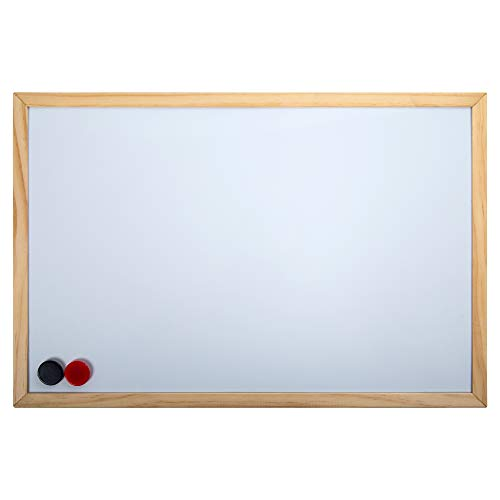 Office Works Small Magnetic Wooden White Board, 11.5 x 17.5 inches, White