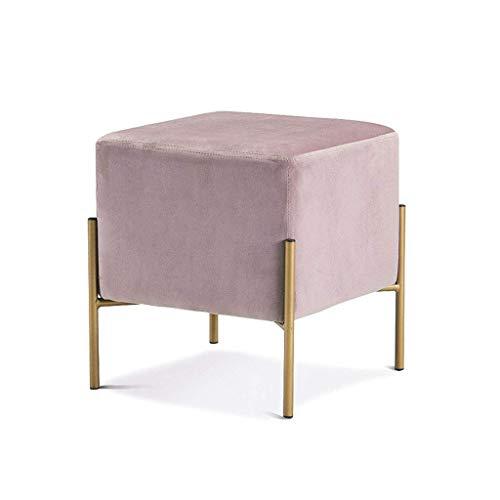 DJ voetenbank, modieus, flanel, voor woonkamer, slaapkamer, kaptafel, roze, 40 cm, 43 cm, 4 voeten, maximale belasting 150 kg