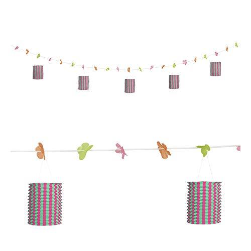 Widmann 02487 lantaarns slinger met bloemen, unisex – volwassenen, roze/groen
