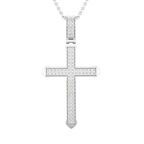 Dazzlingrock Collection 0.25 Carat (ctw) Round White Diamond Men's Cross Charm Pendant 1/4 CT (Silver Chain Included), Sterling Silver