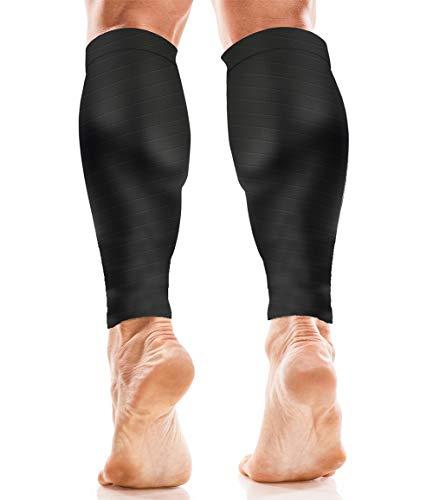 Mangas de Compresión para Pantorrillas - Hombres y Mujeres - Calcetines de Soporte para Correr, Baloncesto, Ciclismo – para Mejor Circulación En Las Pantorrillas - Negro L/XL
