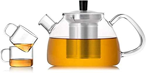 Creativity Kitchen Teapot Glass Tea Leak Heat-Resistant Glass Transparent Teapot with Handle Filter Stove for Home Office Outdoor (Size : 650ml)