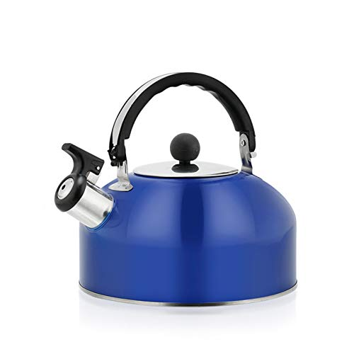 Tetera de acero inoxidable engrosada, silbato de cocina para el hogar 3 litros, antiquemaduras, universal para todas las fuentes de calor, incluida la cocina de inducción (azul)