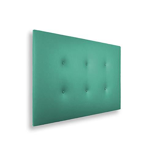 SILCAR HOME - Cabecero de Cama Tapizado en Polipiel con 2 Hileras de Botones, Modelo Carlo (Verde, 115 cm)   Cabecero Acolchado   Cabezal Tapizado   Cabecero Original   Transporte Incluido