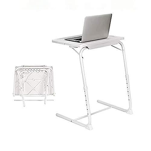 XLO Verstellbarer tragbarer Laptop-Schreibtisch, klappbarer Wandtisch, Computer-Esstisch, mit Halterungen, Schreibtisch, Arbeitstisch, höhenverstellbar, Klapptisch, weiß