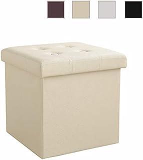 Soontrans Baúl Puff Taburete para Almacenaje Plegable Carga Máxima de 300 kg Caja de Almacenaje para Almacenaje 38 x 38 x 38 cm (Beige)