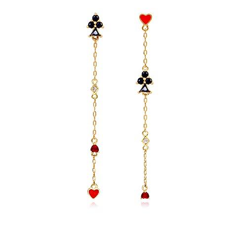 Tofs örhängen asymmetriska långa pokerörhängen plommon blomma persika hjärta örhängen kärlek örhängen öronklämma utan hål för öronen e Som visas på bilden, colore: Stud med öronhål B615, cod. 4748792214873