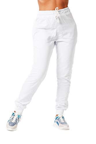 MATKA Damen | Jogginghose | Trainingshose | Sport Fitness | Gym | Training | Jogger Leggings | Einfarbig | Jogging-Hose | Stripe Pants | Modell 5000C Weiss L