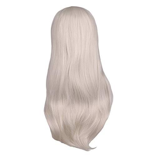 der Femmes Longue Ondulée Cosplay Perruque Rouge Rose Rose Noir Bleu Ruban Gris Marron 70 Cm Température Synthétique Perruques De Cheveux (Color : Silver Grey, Stretched Length : 26inches)