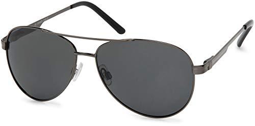 styleBREAKER Gafas de sol polarizadas para aviador, gafas de aviador con bisagra de resorte, estuche y paño de limpieza, unisex 09020046, color:Marco antracita / Cristal gris