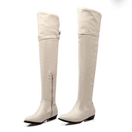 Overknee Stiefel Damen Plateau Winterstiefel mit Blockabsatz, Frauen Sockenstiefel High Heels Lang Boots Elegante Schuhe Bequem Winter Warme Damenschuhe Celucke (Weiß, 41 EU)