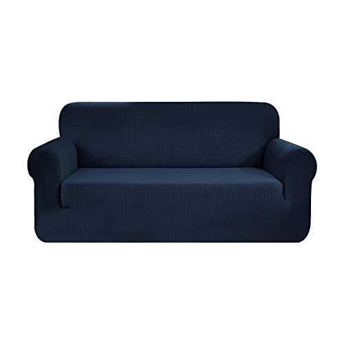 SAMSTEX Stilvoller Sofabezug Stretch 1 Stück Universal Sofabezug High Stretch Sofabezug 3 Sitzer Dicke Weiche Sofaschoner Maschinenwaschbar Rutschfeste Couchbezüge (3-Sitzer, Marineblau)