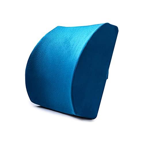 eewopjkj Almohada para la Espalda Almohada Lumbar del Coche Cojín Lumbar ergonómico Almohada de Apoyo de Espuma viscoelástica Dolor de Espalda Lord Support Cojín de Asiento cómodo Azul