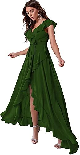 Yuxin High Low Bohemian Bridesmaid Dresses 2021 Long Ruffles Chiffon V Neck Slit Belt Formal Prom Gown for Women Dark Green US16