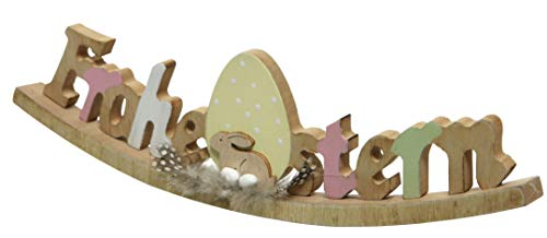 Kaemingk dekorativer Schriftzug Frohe Ostern als Wippe mit Hase und Eiern als ausgefallene Osterdeko