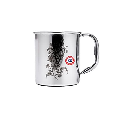 100% Pure Heavy Stainless Steel Mug in K.K Brand for Multi Purpose Uses / Tea Mug / Coffee Mug / Milk Mug / Juice Mug Unbreakable Stainless Steel Mug Capacity = 500ml, (L*B*H =11*11*11),Weight = 183GM