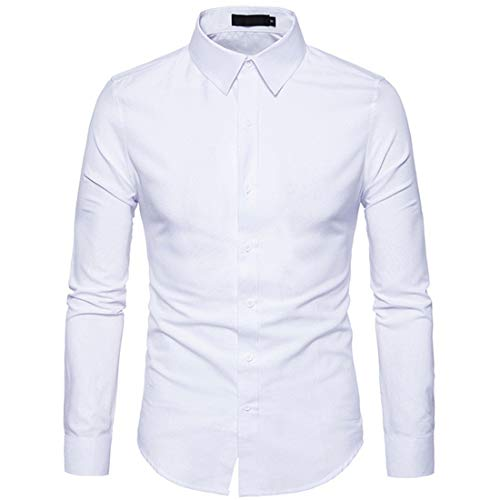 ZCZH Men's Shirts Mens Casual Plain Business Shirt Fashion Solid Color Dress Shirt Autumn Winter Party Prom Shirt Button Down Long Sleeve Classic Shirts Slim Fit Shirts Tops Work Shirt XXL