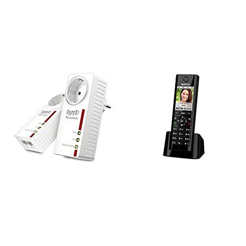 AVM FRITZ! 20002753 Powerline 1220E Set Kit di 2 Adattatori con Presa Passante, Fino a 1200 Mbps & FRITZ!Fon C5 Telefono Cordless DECT, Schermo a Colori, Tlefonia HD