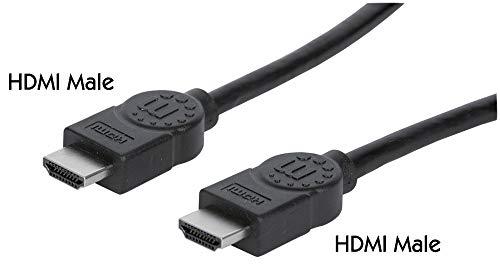 Manhattan 323215 - Cavo HDMI ad alta velocità con canale Ethernet (HEC ARC 3D 4K) da maschio a HDMI maschio, 2 m, colore: Nero