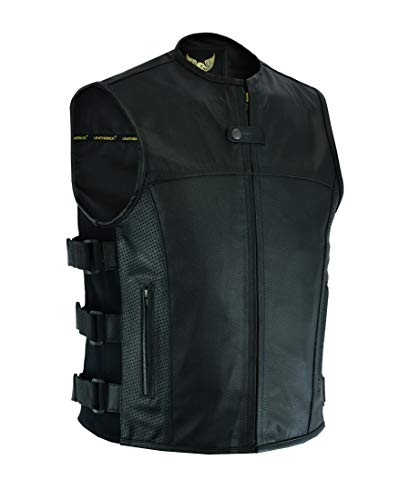 SWAT Tactical Style Herren Biker Leder Weste Weste mit Ledertaschen und Perforation auf Pocket Panels