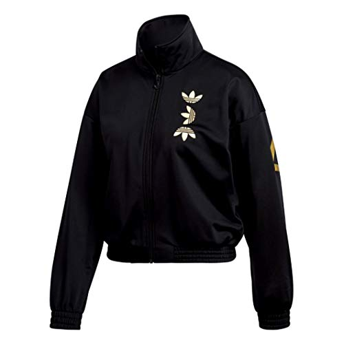 adidas Damen LRG LOGO TT Sweatshirt, Black/Gold met, 36