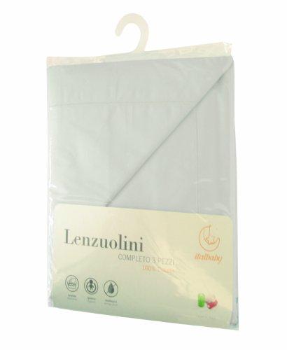 Italbaby 030.1010-5 Lenzuolo per Carrozzina, 3 Pezzi, Bianco