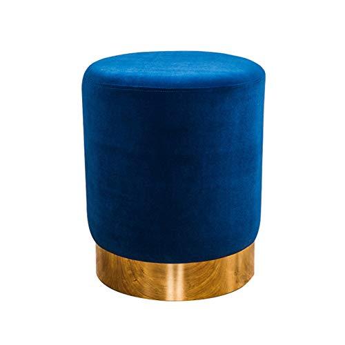 ZHAOYONGLI repose-pieds ottoman Tissu Salon Canapé Maquillage Tabourets Ronds Changer Ses Chaussures Petit Tabouret Tabouret Rond (Couleur : Bleu foncé, taille : C)