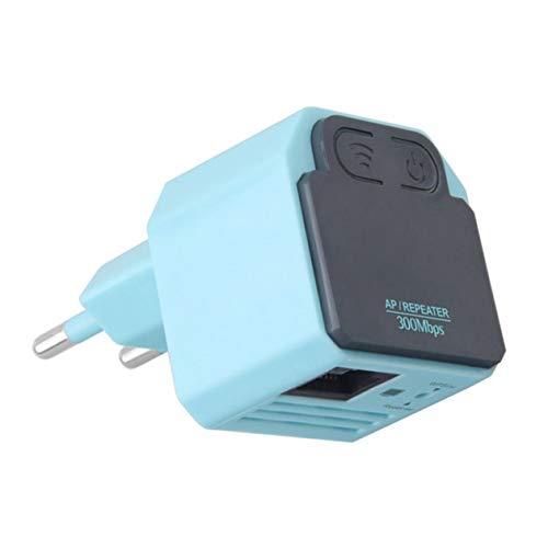 Repetidor inalámbrico WiFi BIYI 300M Mini amplificador de señal 802.11N de alta velocidad Amplificador de rango Booster Antena incorporada (azul)
