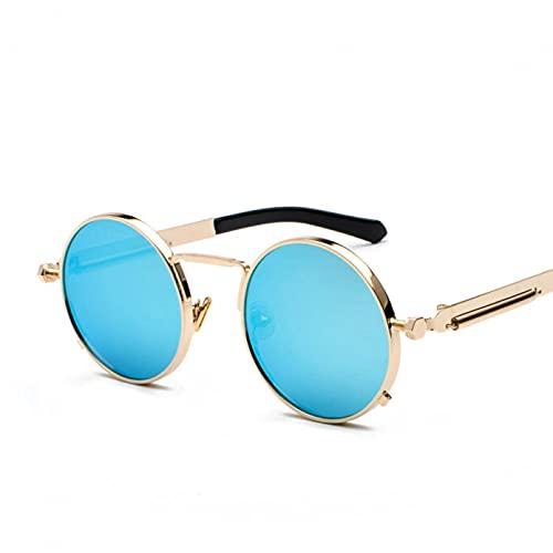 Gafas de sol retro hombres gafas de sol señoras retro estilo punk redondo marco de metal colorido lente gafas de sol moda gafas