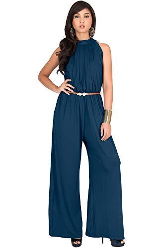 KOH KOH Plus Size Womens Sexy Sleeveless Halter-Neck Wide Leg Pants Cocktail Overall Long Work Day Suit Pant Suits Pantsuit Playsuit Jumpsuit Jumpsuits Romper Rompers, Blue Teal 2XL 18-20