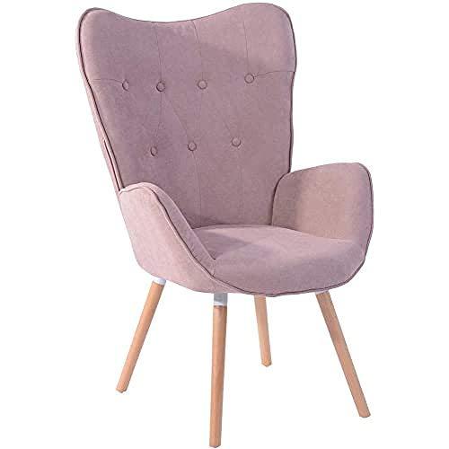 MEUBLE COSY 1er Set Vintager Retro Sessel Polstersessel Stoff Lounge Sessel Clubsessel Fernsehsessel Rosa