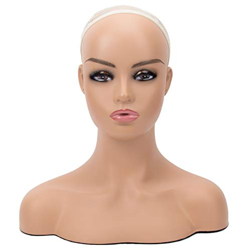 Mannequin PVC Manikin Head Realistic Mannequin Head Bust Wig Head Stand for Wigs Display Making Styling PMH-DC487 (16.5 Inches, Caucasian)