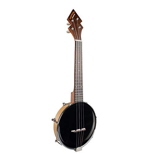 Dcolor Banjo Ukulele Konzert mit Tasche Tuner Banjo Geschlossen Solid Back mit Beginner Kit Tuner Schwarz