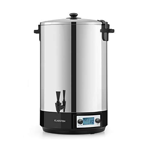 Klarstein KonfiStar 50 Digital - Olla para hacer mermeladas, caldera de cocción, termo para bebidas, 50 litros, 2500 W, 30-100 °C, programable, conserva el calor, tapa con cierre, acero inoxidable