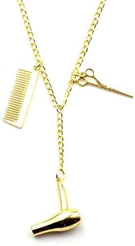 YANCONGMujer Colar Secador de pelo/Tijera/Peine Llavero y colgantes Tijeras Joyas Cosmetóloga Peluquería Cadena-collar de oro