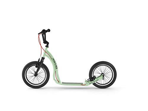 Yedoo Frida & Fred Kinder Tretroller - Scooter für Kinder ab 7 Jahre, ab 125 cm Körperhöhe, mit Luftreifen 16/16 - für Mädchen und Jungen, Höhenverstellbar, mit Reflexelementen, Gewicht 6,5 kg (Mint)