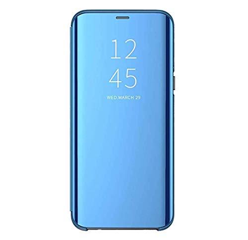 Custodia Samsung Galaxy S8/S8 Plus Clear View Standing Cover Mirror Flip Custodia 360 Gradi Protezione Portafoglio Elegante Flip Case Copertura (S8 Plus, Blu)