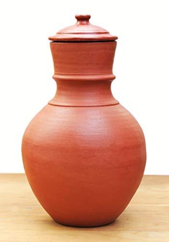 Craftsman India Online Clay Water Jug/Earthen Water Pot (RED, 5 Liter)