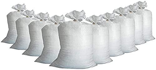 10x Brandengel Hochwasser Sandsäcke mit Band Befestigungsband (30x60cm) PP THW Feuerwehr Hochwassersäcke Sandsack Verschließbar
