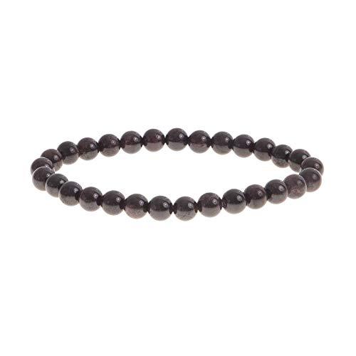 Pulsera de piedra natural   Alta gama   Joyas para hombre y parejas   Perla semipreciosa   6 mm   Marca francesa   Satisfacto o acolchado   (Granat)
