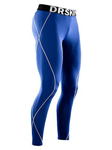 DRSKIN Men's Thermal Wintergear Fleece Cold Compression Tight Base Layer Long Under Sport Leggings Pants (HOT BU15, S)