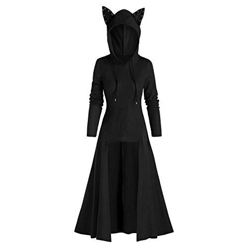 TOPKUAL Disfraz retro de mujer con orejas de gato, capa con capucha, para Halloween, fiesta, para adultos, cosplay, disfraz de Halloween #01-negro XXXL