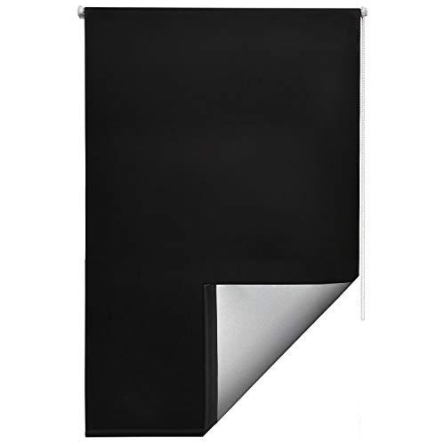 Sol Royal Thermorollo SolReflect T42 Verdunkelungsrollo 80x160 Klemmfix Rollos für Fenster ohne Bohren Silberbeschichtung Schwarz