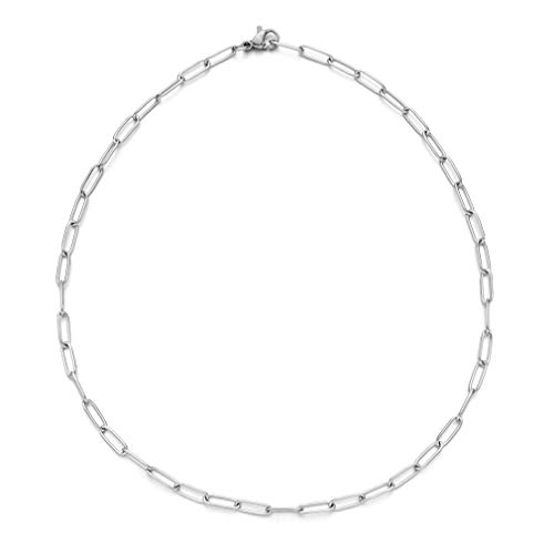 """W WOOGGE Stainless Steel Chain 4mm 5mm 8mm Necklace Link Chain - Paperclip Oval Link Chain Necklace - 14"""" 16"""" 18"""" 20"""" 22"""", 4mm 20 Inch Chain"""