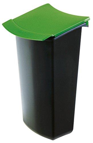 HAN 1843-05, Abfalleinsatz MONDO mit Deckel, Schick und Praktisch, Für die perfekte Abfalltrennung, 3 Liter, schwarz-grün
