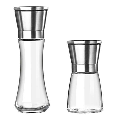Hemoton 2-Delige Peper- en Zoutmolen Navulbaar Roestvrijstalen Glas Pepermolen Kruidenmolen Zout Peper Shakers Grinder Set Zilver