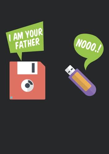 Notizbuch A5 kariert mit Softcover Design: Entwickler Spruch Diskette USB Stick Vater Witz Nachfolger: 120 karierte DIN A5 Seiten