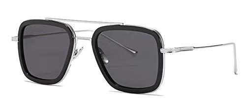 LHSDMOAT Sonnenbrille für Herren Damen, Retro Tony stark Sonnenbrille, Vintage Iron Man Edith Brille Rechteck Metallrahmen Nerd Brille Deko Brillenfassungen